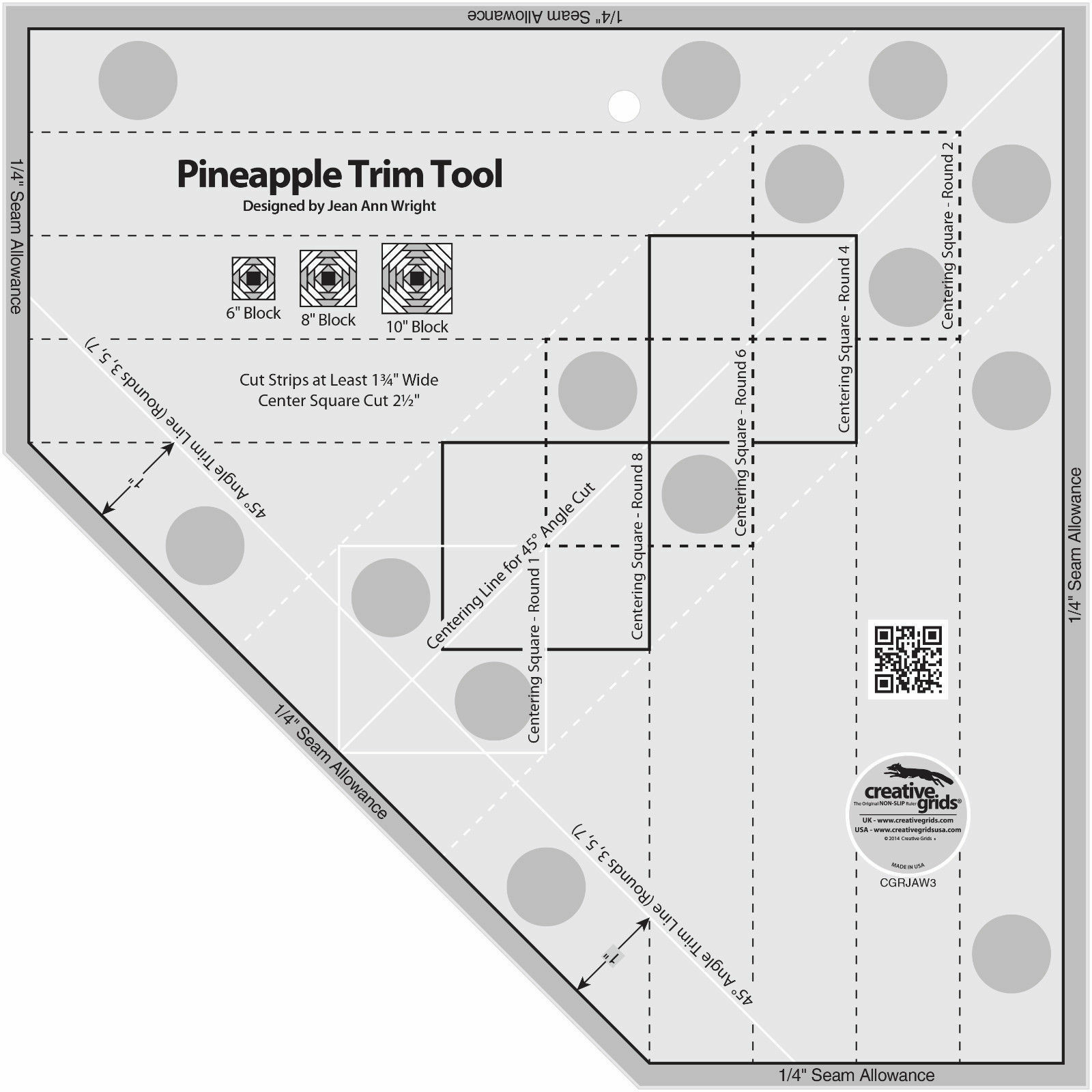 Creative Grids Pineapple Trim Tool Quilting Template Ruler | eBay