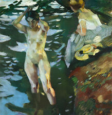 Die Badenden Leo Putz Impressionismus Jugendstil Bütten Chiemseemaler A3 223