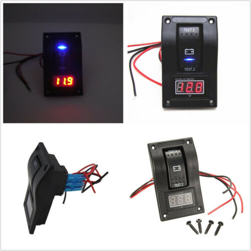 ABS Car Marine Boat Dual Battery Test Panel Rocker Switch ON-OFF-ON /& Voltmeter