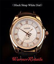 YAZOLE Mens Luxury Premium Europ. Business Class  Quartz Wrist Watch White/Black