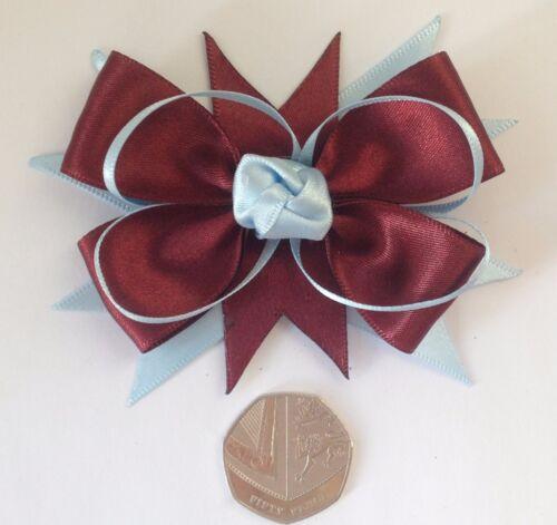 Claret /& Blue Satin Ribbon Hair Bow Alligator Clip Football Club School Badge