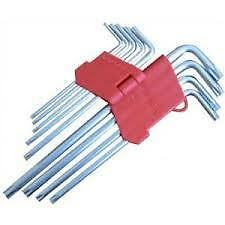 10 Piece Offset Extra Long Reach Tamperproof Hollow End Torx Torque Star Key Set