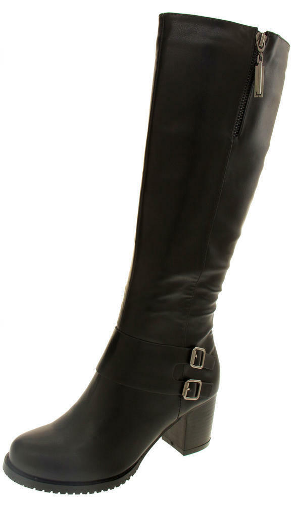 Betsy Faux Leather Knee High Block Heel Boots Size UK 6 EU 39 NH084 AA 01