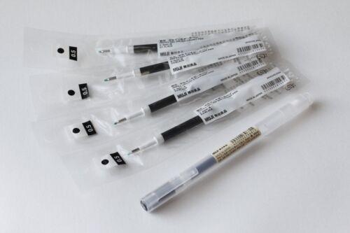 GENUINE form Japan   MUJI Gel Ink Pen 0.5 mm BLACK 1 pc 4 refills FREE AIRMAIL