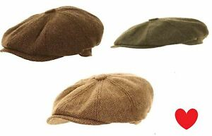 Mens-Boys-Flat-Cap-Tweed-Gatsby-Peaky-Binders-Herringbone