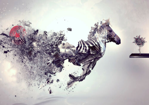 STUNNING RUNNING ZEBRA ABSTRACT WALL ART POSTER PRINT A1 - A5 SIZES AVAILABLE