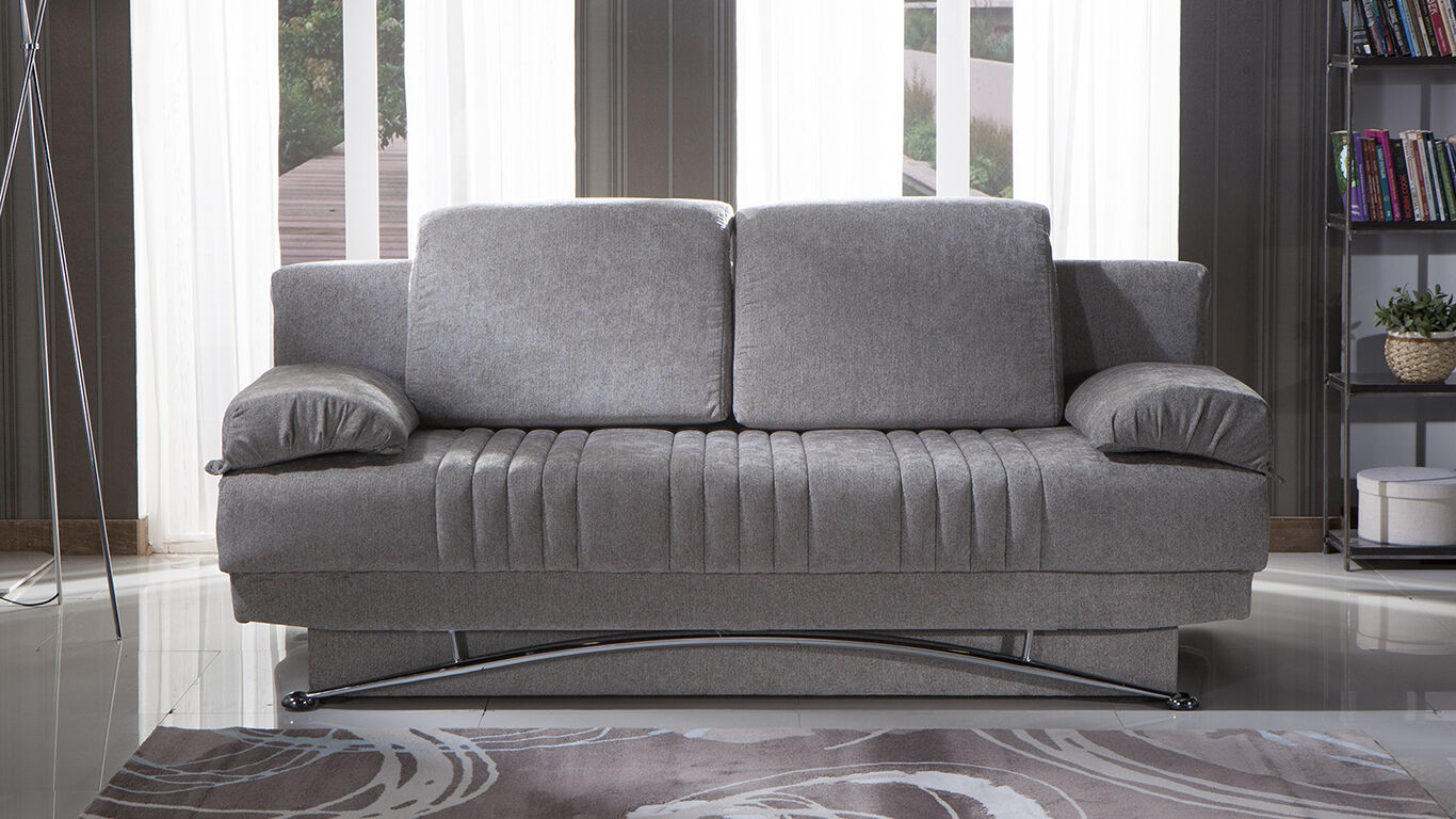 Fantasy Queen Size Convertible Sofa Bed With Storage In Valencia Gray