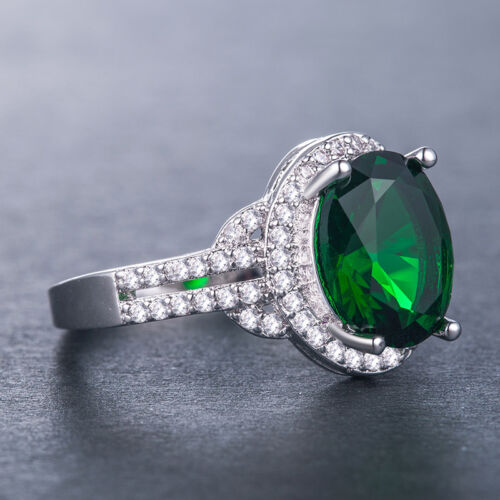Women Fashion Jewelry 925 Silver Green Emerald Cocktail Party Ring Size 6-10