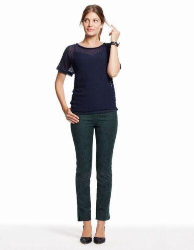 NEW Boden Textured Sheer Silk Navy Tee Top Shirt Size US 2 *