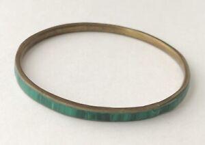 Vintage-Inlaid-Genuine-Malachite-Gemstone-Gold-Tone-Bangle-Bracelet-8-034