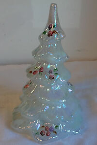 Vintage Signed Art Glass Fenton Christmas Tree Iridescent Light Moon
