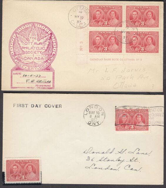 1937 #237 3¢ KING GEORGE VI CORONATION TWO DIFFERENT FIRST DAY COVER F-VF