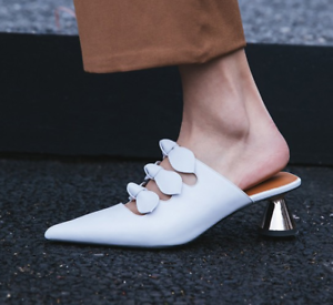 Women Pointed Toe Hollow Bow Knot Med Heels Mules Slippers Sandals Stilettos B94