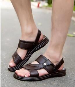 364dd45d44a Mens Fashion Sandals Beach Shoes Hot Summer Peep Toe Pu Leather ...