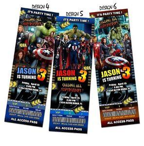 Detalles De Los Vengadores Fiesta De Cumpleaños Invitación Billete Tarjeta Foto 1er Custom Invita A A1 Ver Título Original