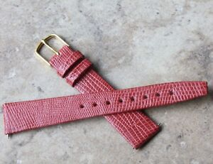 Lizard-print-Genuine-Calf-Leather-18mm-vintage-watch-strap-tapered-shape-NOS