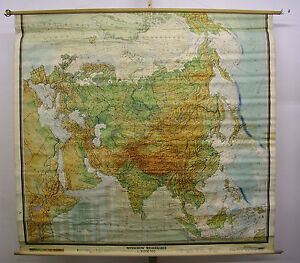 Map Of Asia 1960.Details About Schulwandkarte Wall Map School Map Card Europe Asia Eurasien 213x198 1960