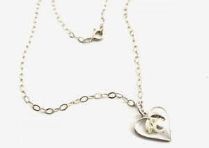"""Vintage Delicate Sterling Silver Heart Pearl Pendant 16"""" Chain Necklace BOXED"""
