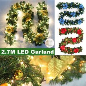 Image Is Loading 9ft Christmas Tree Pre Lit Decorated Garland Wreath