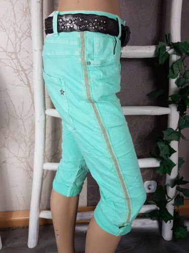 Jewelly Capri Bermuda Pantaloni lunghi cavallo basso boyfriend strisce pagine in 3 COLORI ESTATE