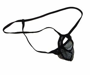 Mens-G-String-Thong-BALL-HUGGER-Peek-A-Boo-Lingerie-BLACK-NET-Custom-Made-n-USA