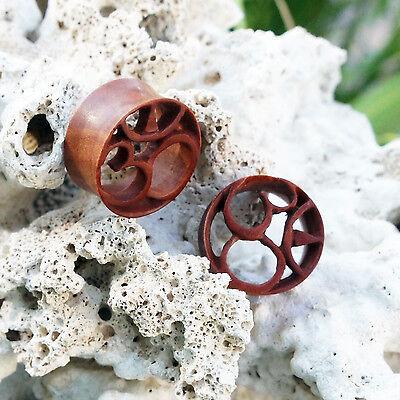 "Organic Handmade Carved Wood Ohm Om Flesh Tunnel Ear Plugs Gauges 0G - 13/16"""