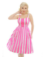 'corrina' 8-26(aus10-aus28)lindy Bop Pink And White Stripe Print Dress Pin Up