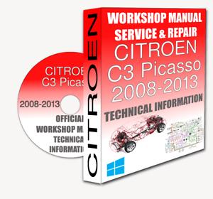 service workshop manual repair manual citroen c3 picasso 2008 2013 rh ebay co uk manuel citroen c3 picasso manuel entretien citroen c3 picasso