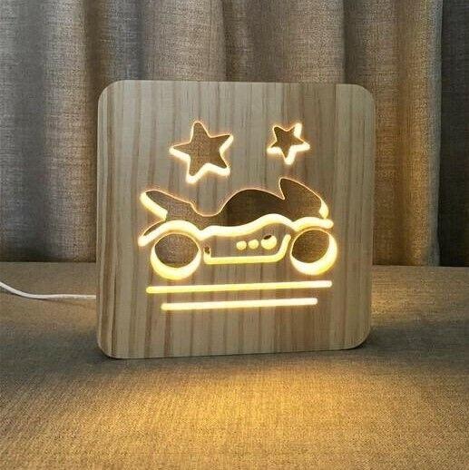 MOTO GP MOTORBIKE WOOD LAMP USB LED BEDROOM NIGHT LIGHT SUSTAINABLE OAK WOOD