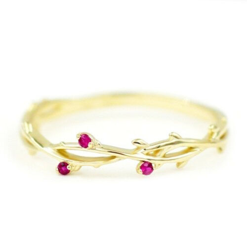 1PC Simple Red Crystal Branch Vine Ring Wedding Engagement Band Women Jewelry