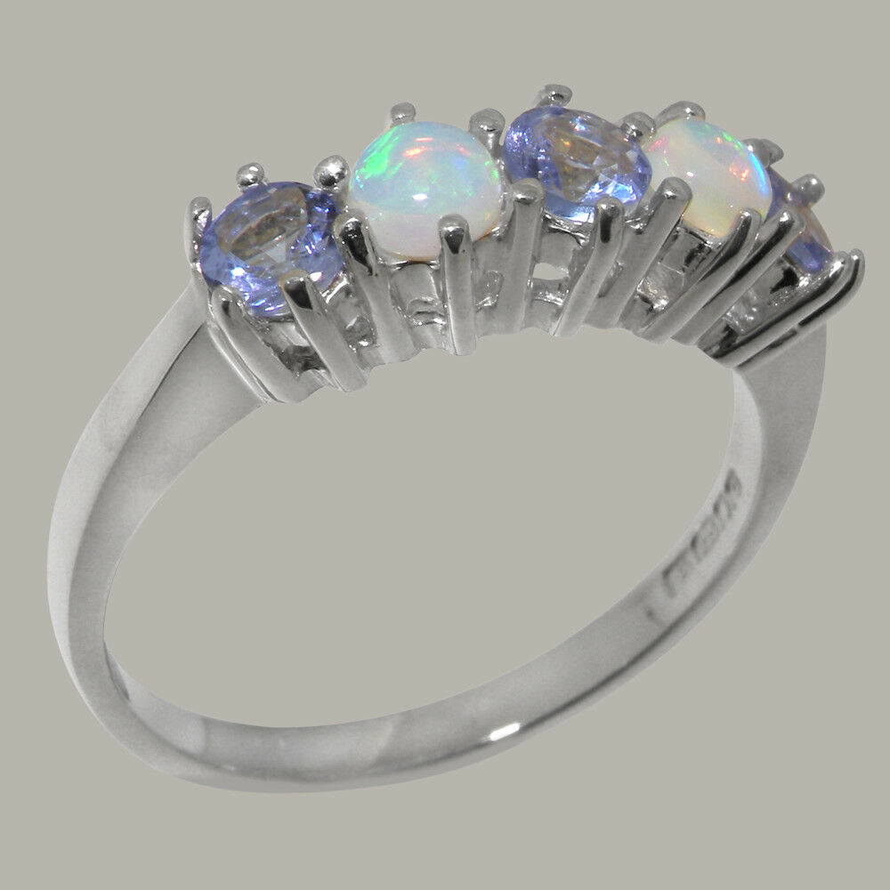 14ct White gold Natural Tanzanite & Opal Womens Eternity Ring - Sizes J to Z