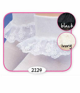 Ivory or Black XS White S SNOW QUEEN LACE Girls Socks by Jefferies Toddler