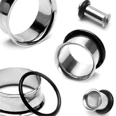 PAIR-STAINLESS STEEL Ear Tunnels-Ear Stretching Tunnel -Ear Gauges-Ear Plugs