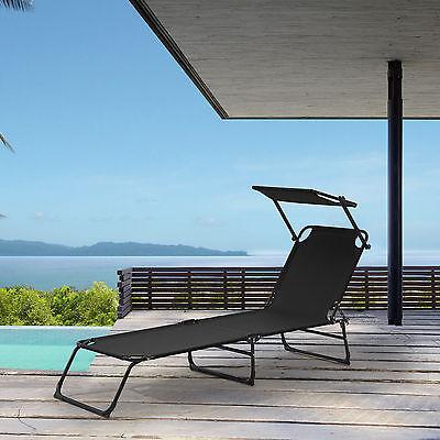 Tumbona de 190cm en negro, con toldo, tumbona de jardín + playa