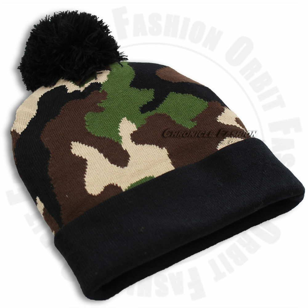 Details about Camouflage Army Camo Beanie Cap Knit Winter Warm Cuffed Mens  Women s Pom Pom Hat a04808df1a1