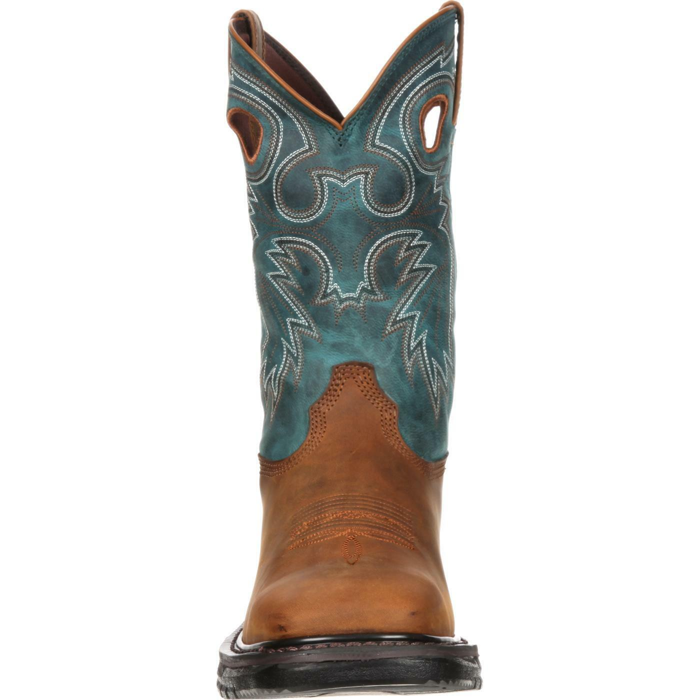 ROCKY Men's Size 13M Horse Brown Sky Blue Pull On Square Toe Boots RKY036 NIB