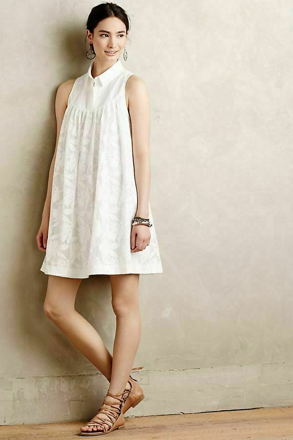 fe85f6e45d4c NWT Anthropologie HD in in in Paris Laced Poplin Swing Dress Small White  Collared abcfd6 ...