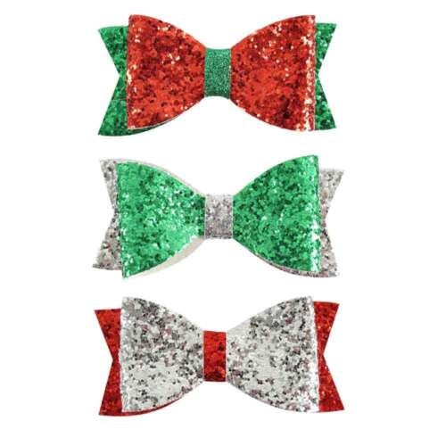 "2 Pcs 4/"" Girls Christmas Party Hair bow Glitter Bling Bling Patchwork Hair clips"