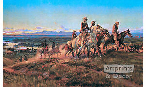 Men of the Open Range by Charles Marion Russell Art Print of Vintage Art