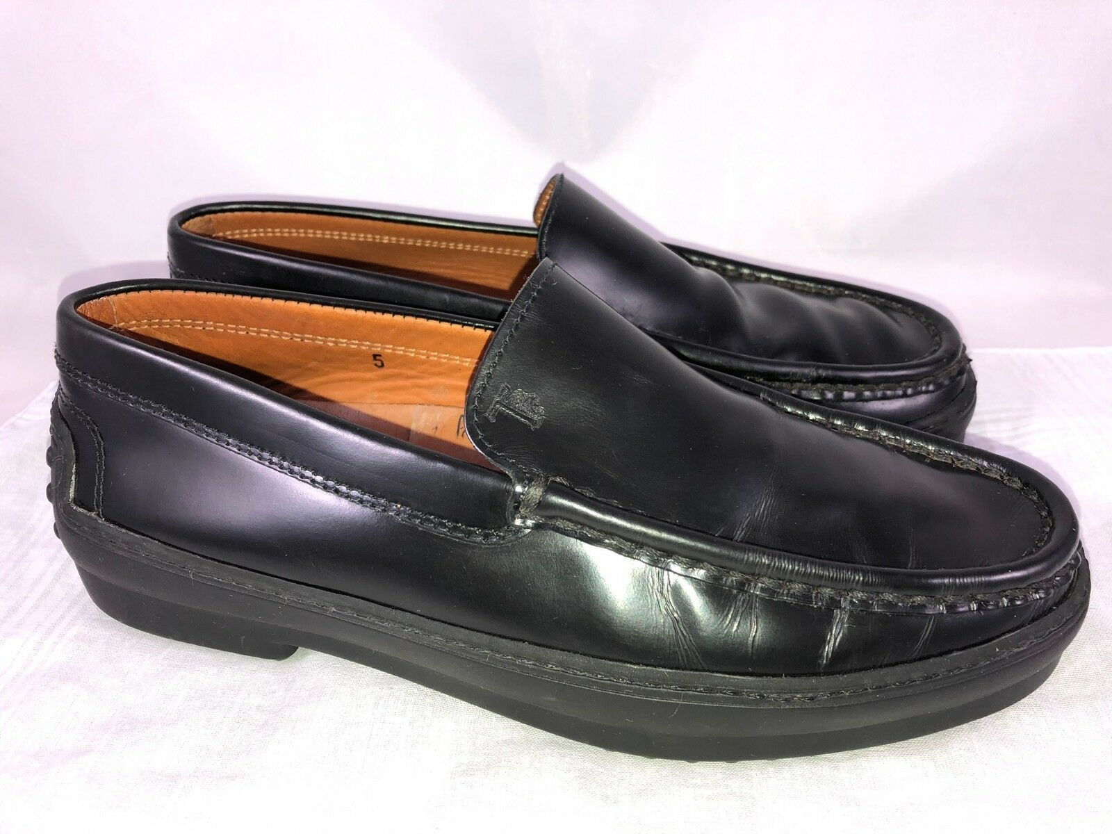 Tod's Black Leather Women's Size 5 Moc Toe Driving Mocs Slip On Loafers Flats