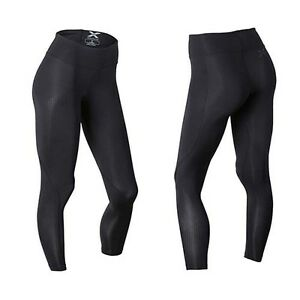 Activewear 2XU Womens Mid Rise 7/8 Compression TightsBlack/Dotted Logo