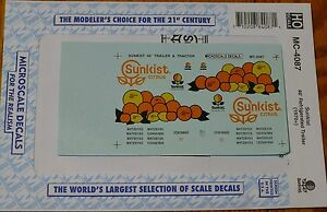Microscale Decal HO #MC-4087 Decal For: Sunkist Trailer - 40' - Tractor