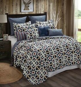Farmhouse-Navy-Tan-Plaid-Star-Printed-KING-Quilt-Set-Primitive-Barn-Country