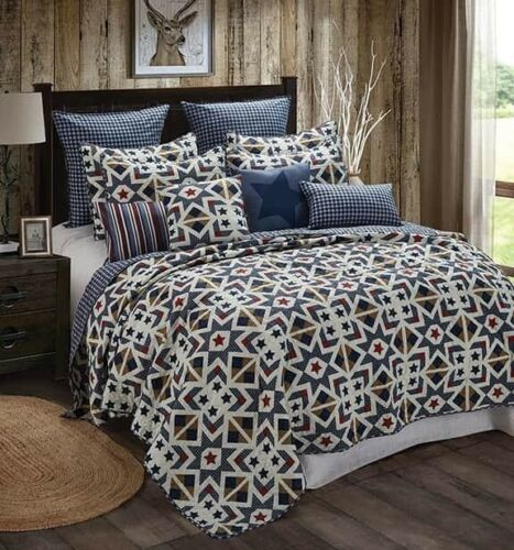 Farmhouse Navy Tan Plaid Star Printed QUEEN Quilt Set Primitive Barn Country