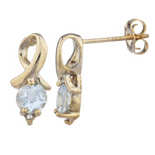 14Kt Yellow Gold Plated Aquamarine /& Diamond Round Design Stud Earrings