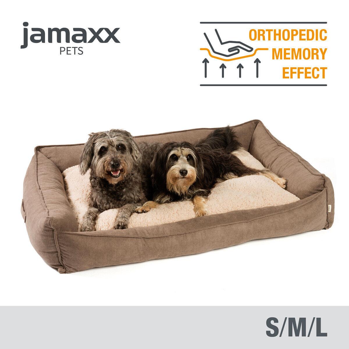 JAMAXX Premium Hundebett - Orthopädische Memory Visco Füllung, Wendekissen braun
