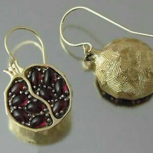 Retro-Gold-Filled-Pomegranate-Garnet-Ear-Hook-Proposal-Wedding-Jewelry-Earrings