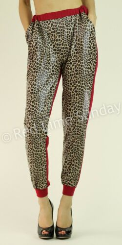 Faux Leather Leopard Animal Print Duo Fabric Red Jogger Jogging Pants Bottoms US
