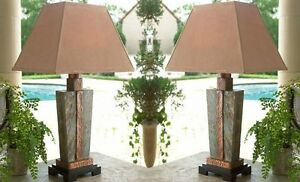 Luxe-STONE-and-COPPER-Table-LAMP-PAIR-Set-Indoor-Outdoor-Patio-Art-Deco-Horchow