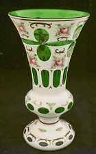 "Antiq Bohemian Czech Moser White Overlay Cut Emerald Green Hand Painted Vase 10"""